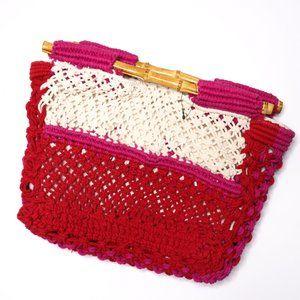Straw Studio   NEW Hand Crochet Bamboo Clutch